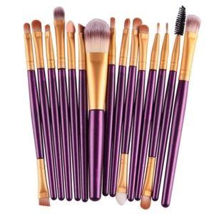 New 15 Piece Purple Make-Up Brush Set